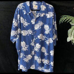 Pineapple Juice Hawaiian Classic Blue Button Down